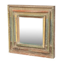 "Rainbow Rustic Reclaimed Wood 12.5"" Square Framed Wall Mirror"