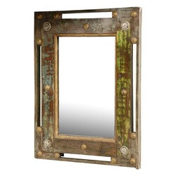 "Pirates Gold Reclaimed Wood 20"" Rectangular Wall Mirror Frame"