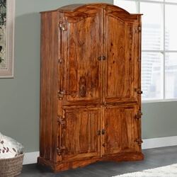 Modern Gothic Solid Wood 2 Section Rustic Armoire Closet