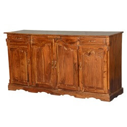 French Provincial Solid Indian Rosewood Sideboard Cabinet
