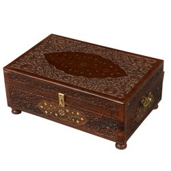 Royal Elizabethan Mango Wood & Brass Standing Jewelry Box