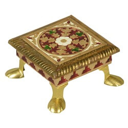 "Indian Bajot Iron & Brass Ceremonial 3.5"" Square Mini Table"
