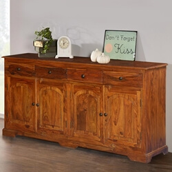 Early American Solid Wood 4 Drawer Sideboard