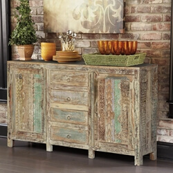 Frosted Rustic Reclaimed Wood Sideboard Buffet Cabinet