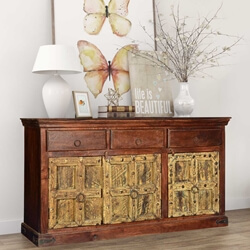 Golden Gothic Mango & Reclaimed Wood Sideboard Buffet Cabinet