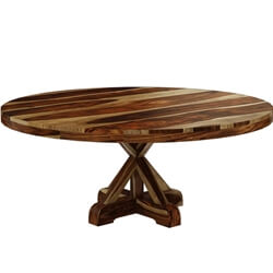 "Bedford Rustic Solid Wood 72"" X Pedestal Round Dining Table"