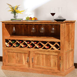 Modern Rustic Acacia Wood 13 Bottle Wine Bar Cabinet w Glass Stem Rack