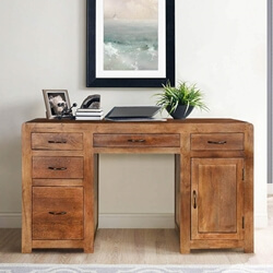 Rustic Classic Pedestal Storage Desk with 5 Drawer n Cabinet