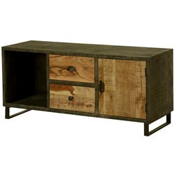 Wooden Patches Mango Wood & Iron TV Console Media Cabinet