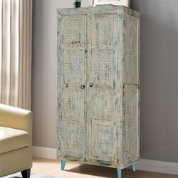 Vamo White Washed Reclaimed Wood Freestanding Rustic Armoire
