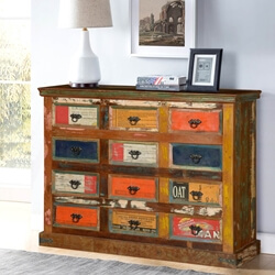 Primary Colors Pop Art Reclaimed Wood 12 Drawer Dresser Chest