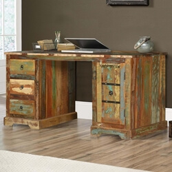 Gorst Rustic Reclaimed Wood Double Pedestal Executive Desk