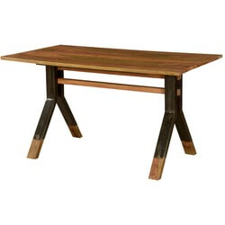 Pioneer Rustic Solid Wood & Iron Industrial Trestle Dining Table