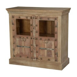 Gothic Stars Mango Wood Glass Door Storage Display Cabinet