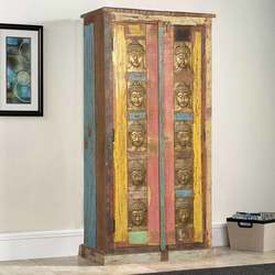 Chesterhill Brass Inlay Rustic Reclaimed Wood Armoire