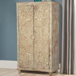 Altona Distressed Solid Wood Hand Carved Rustic Tall Storage Cabinet