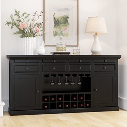 Nottingham Rustic Solid Wood Black Bar Large Sideboard Cabinet