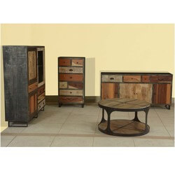 Modern Rustic Mango Wood & Iron 4pc Living Room Cabinet Collection