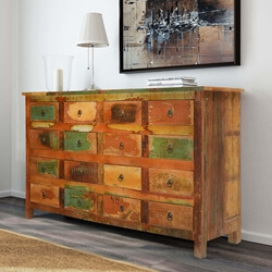 Autumn Rustic Reclaimed Wood 16 Drawer Dresser Chest