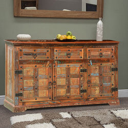 "Rustic Plaid Reclaimed Wood 55.5"" Sideboard Cabinet"