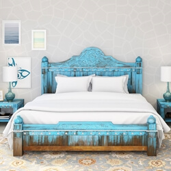 Empire Blue Dawn Solid Mango Wood Hand Carved Platform Bed