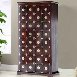 Madison Brass Inlay Traditional Style Solid Hardwood Wardrobe Armoire
