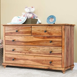 Livingston Indian Rosewood Rustic 5-Drawer Chest