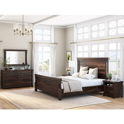 Pioneer Transitional Solid Wood 7pc Bedroom Furniture Set