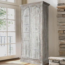 Gothic Winter Solid Reclaimed Wood 2 Door Gray Tall Storage Cabinet