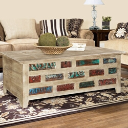 Impressionist Brick Wall Mango & Reclaimed Wood Coffee Table Chest