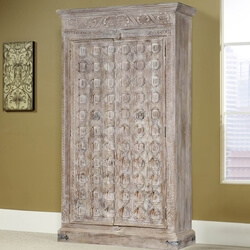 Diamond Gothic Solid Mango Reclaimed Wood 2 Door Tall Storage Cabinet