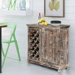 Chartres Distressed Solid Wood Rustic Bar Cabinet with Wine Storage