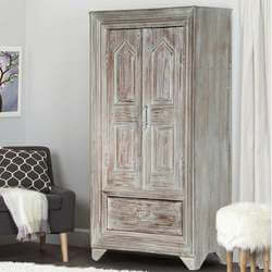 Aviston Distressed Finish Solid Wood Gray Armoire Cabinet