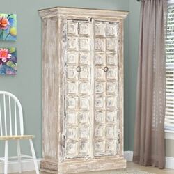 Millsboro Distressed Solid Reclaimed and Mango Wood Storage Cabinet