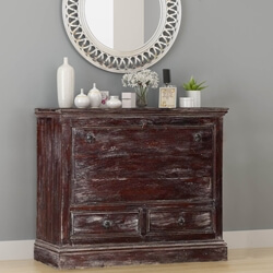 Frosted Drawbridge Reclaimed Wood Front Lid 2 Drawer Dresser