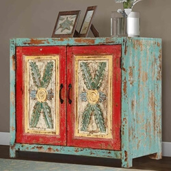 Rustic Farmhouse Mango Wood Distressed Freestanding Cabinet