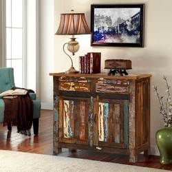 Alorton Rustic Colors Reclaimed Wood 2 Drawer Freestanding Cabinet