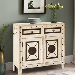 Hyannis Mango Wood Brass Inlay 2 Drawer Freestanding Buffet Cabinet