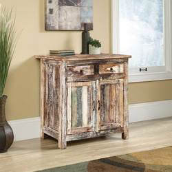 Arkansas Weathered Reclaimed Wood 2 Drawer Storage Cabinet