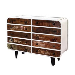 Main Street Iron & Rustic Mango Wood 10 Drawer Double Dresser
