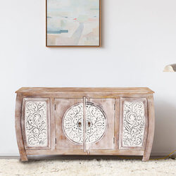 Orleans White Floral Motif Doors Rustic Large Sideboard Cabinet