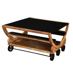 Savannah 3 Shelf With 6 Wheels Iron U0026 Wood Modern Accent Coffee Table