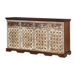 Oklahoma Classic Patterned Handcrafted Solid Wood Sideboard Cabinet