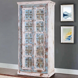 Charles Solid Mango Wood Handcrafted Rustic Accent Armoire