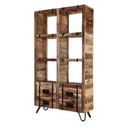Regis Solid Mango Wood Industrialized Accent Bookshelf With Drawers