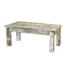 "Winter White Reclaimed Wood Hand Carved 43"" Coffee Table"