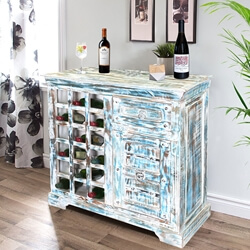 Winter Morning Reclaimed Wood Freestanding Wine Bar Cabinet