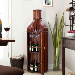 Bordeaux Handcrafted Solid Wood Wine Bottle Storage Bar Cabinet
