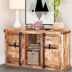 Santa Maria Handcrafted Solid Wood Front Open Sideboard Cabinet