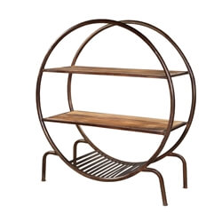 Open Circle Shape Mango Wood 2-Tier Industrial Bookcase